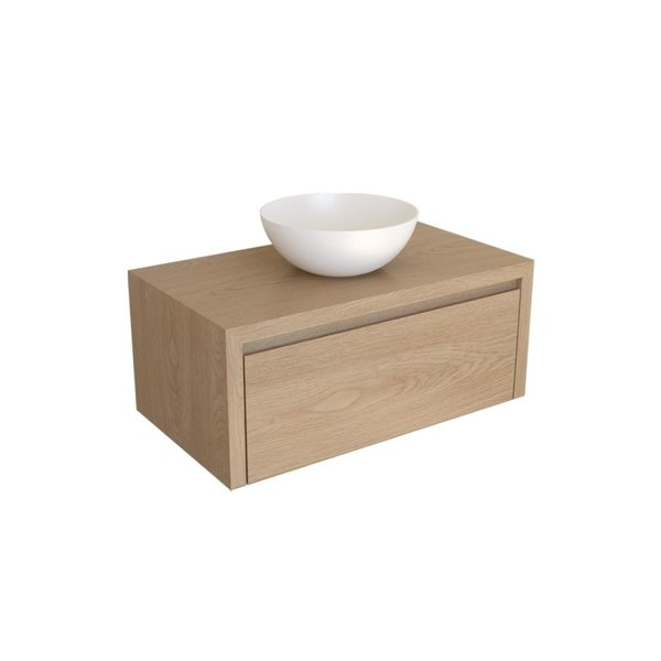 Woodmasters Furniture Wastafelmeubel massief eiken met 1 houten binnenlade Texel