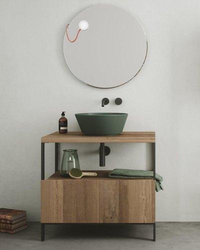 Wastafelmeubel metaal staand met houten lade (4 poten)