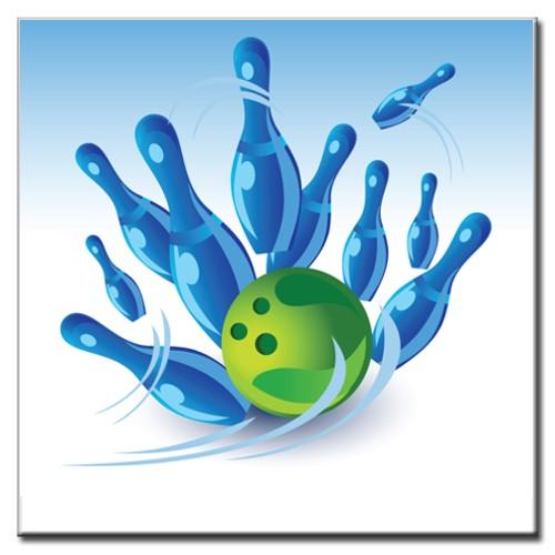 """BowlingShopEurope Bedrukte tegeltjes """"Blue Pins"""""""