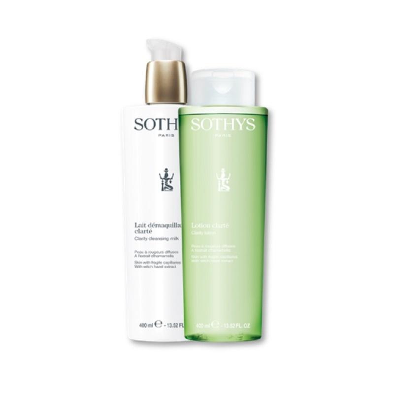 Sothys Sothys Duo Lait démaquillant clarté+lotion Clarté peau rougeurs diffuses A l'extrait d'hamamelis Actie !  2 x 400 ml