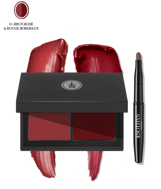 Sothys Sothys 10 brun rosé & rouge bordeaux. Pallette duo lèvres, lip duo pallette