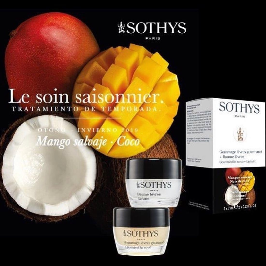 Sothys Sothys Gommage lèvres gourmand + Baume lèvres Mango sauvage Noix de coco 2 x 7 ml