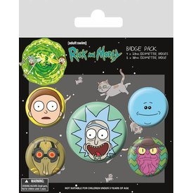 Rick and Morty Heads - Badge Pack
