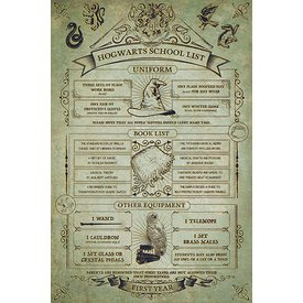 Harry Potter Hogwarts School List - Maxi Poster