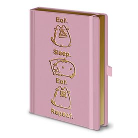 Pusheen Eat Sleep Eat Repeat - Premium  A5 Notebook