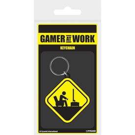 Gamer At Work Caution Sign - Keychain