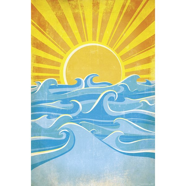 Sea Waves And Yellow Sun - Maxi Poster