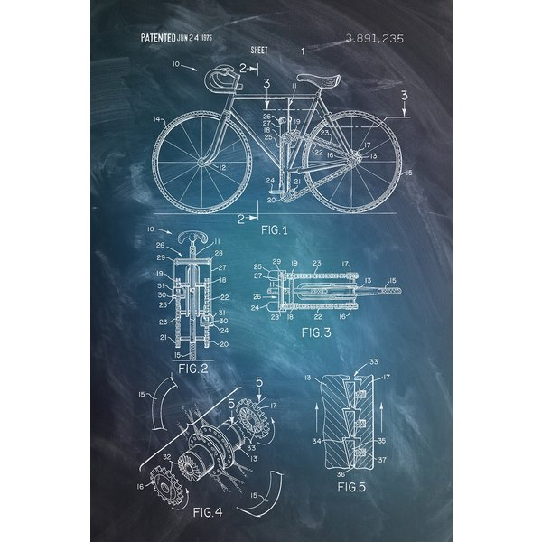 Bicycle Patent Drawing - Maxi Poster