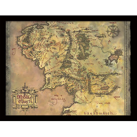 The Lord Of The Rings Middle Earth Map - Framed Print