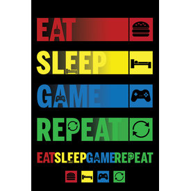 Eat Sleep Game Repeat - Maxi Poster