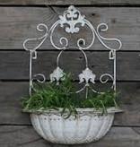 französischer Pflanzenkorb, Wandaufhang antik weiß