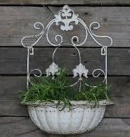 französicher Pflanzenkorb, Wandaufhang antik weiß