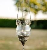 Windlicht Hänger aus Glas mit silberner Ornamentverzierung