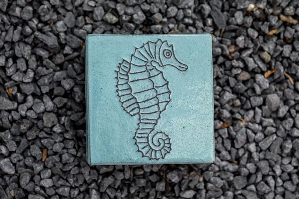 Motiv Pflasterstein Seepferdchen in salbei