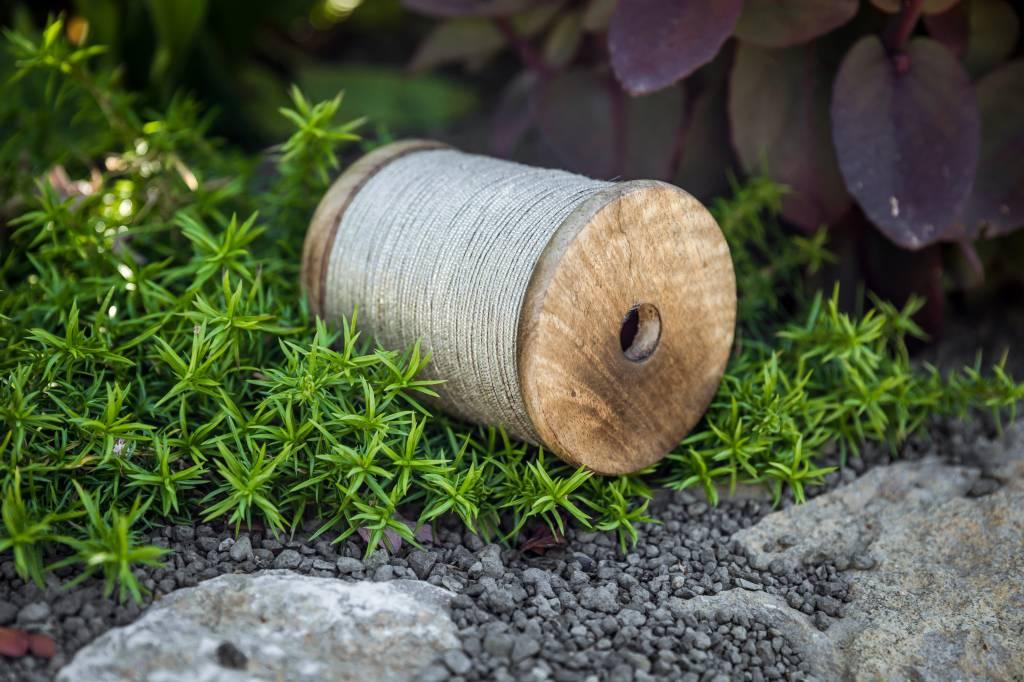 silberne Pflanzschnur auf Holzspule 100m