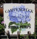 Metallschild: Gartenglück