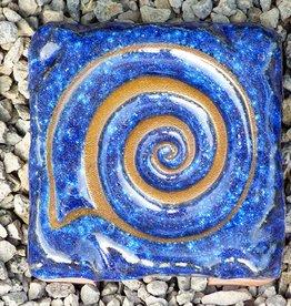 Motiv Pflasterstein Schnecke, kobalt