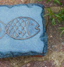 Motiv Pflasterstein Fisch in taubenblau
