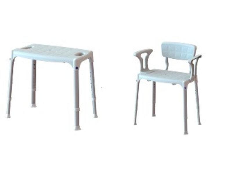 Chaise de douche en plastique / aluminium Adhome