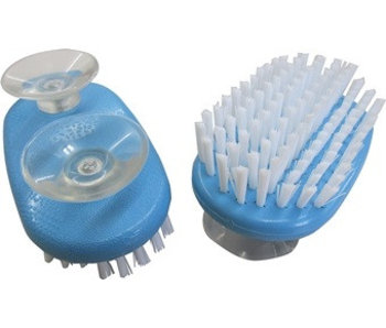 Hand brush on suction cups for one-handed use
