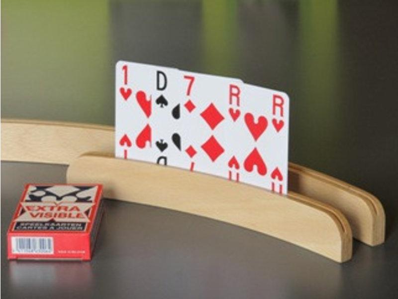 Speelkaartenhouder in beuk halfrond