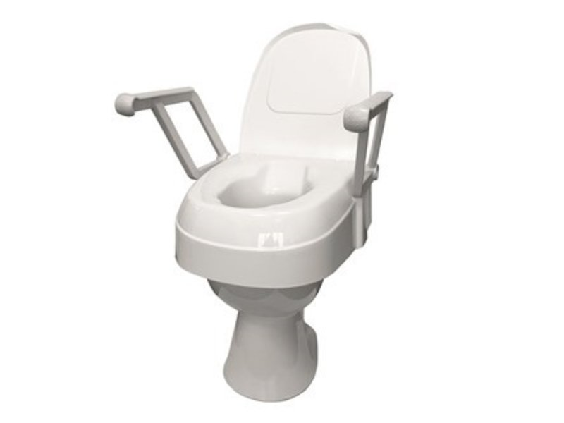 Height-adjustable toilet seat with folding armrests