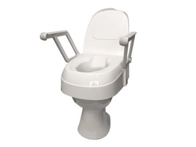Siège de toilette réglable en hauteur avec accoudoirs rabattables
