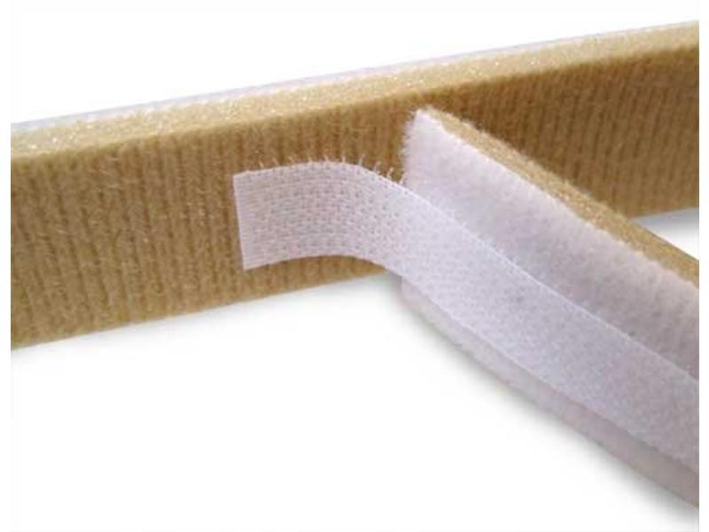 Ruban mousse à double boucle blanc / beige