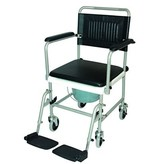 Wheelchair toilet on wheels with footrests Drive