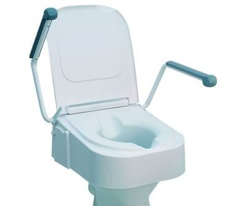 Toilet seat with folding armrests, adjustable height