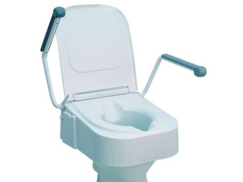 Toilette surélevé avec accoudoirs escamotables, réglable en hauteur