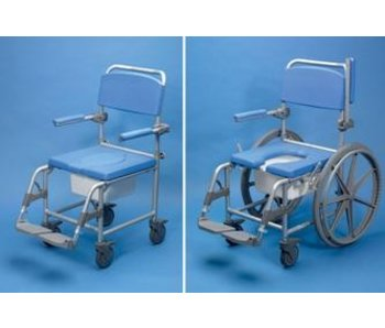 Shower / toilet chair with wheels Deluxe Days, aluminum
