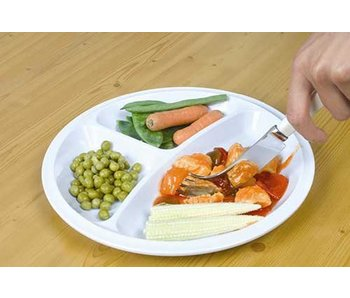 Plate with three compartments in melamine