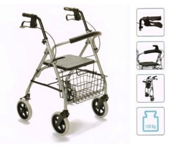 Gigo in aluminum walker with four wheels, foldable