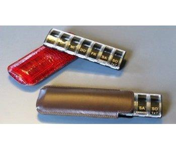 Luxe pilulier Anabox pendant une semaine, un compartiment / jour, avec cuir noir