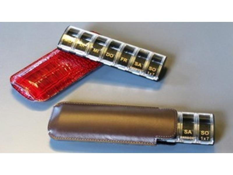 Luxe pillendoosje Anabox voor 1 week, 1 compartiment/dag, zwart met lederen