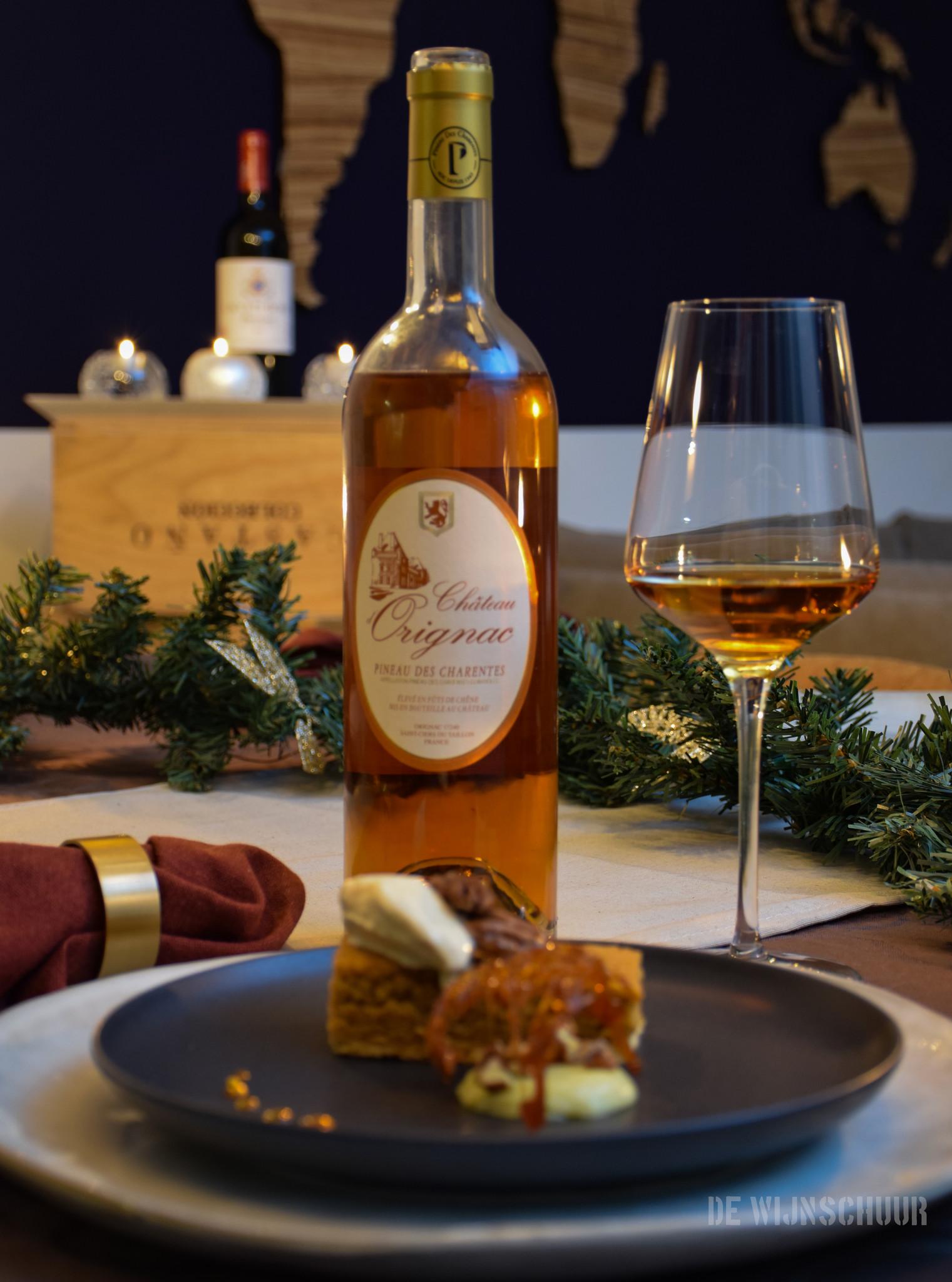 Chateau d'Orignac Pineau de Charentes & Strooptaart met room parfait en koffie ijs