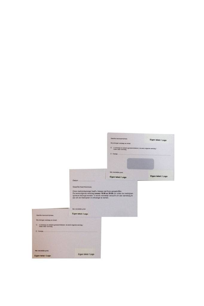 Bezorgservice losse kaarten met eigen naamlogo
