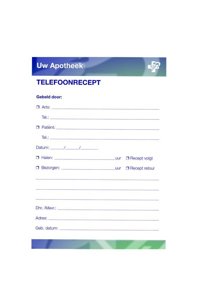 Memoblok / Telefonische receptblok universeel Europees logo