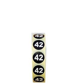 Plaketiket maat 42 v.a. €3,40 p.1.000