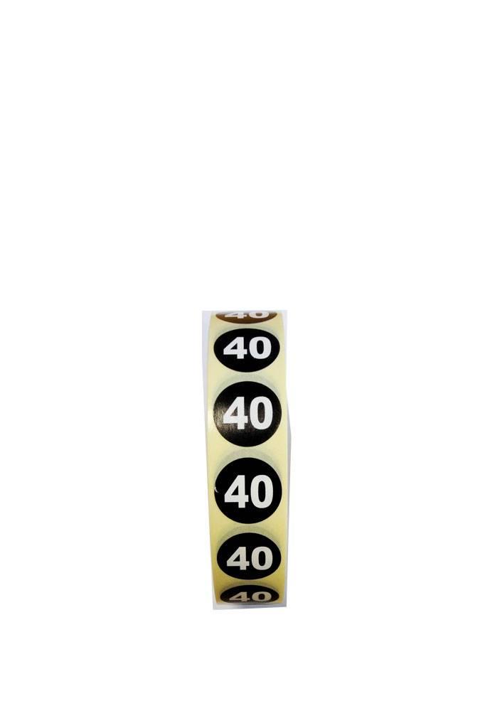 Plaketiket maat 40 v.a. € 3,40 p.1.000