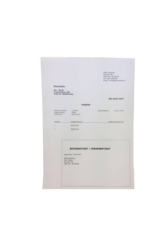Webshop verzendformulieren 1 etiket 150x100 rechts