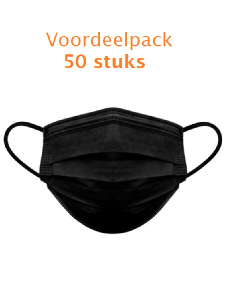 Zwarte Mondmaskers 3-laags 50st.