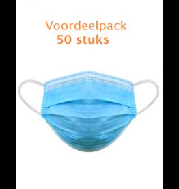 Blauwe Mondmaskers 3-laags 50st.