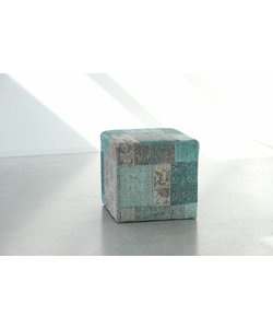 Patchwork Pouf Washed Turquoise
