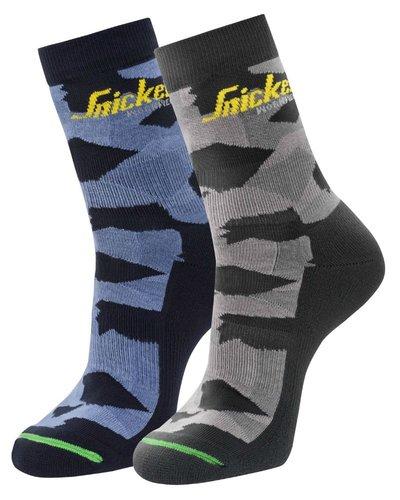 Snickers Workwear 9219 FlexiWork, 2-pak Camo Sokken