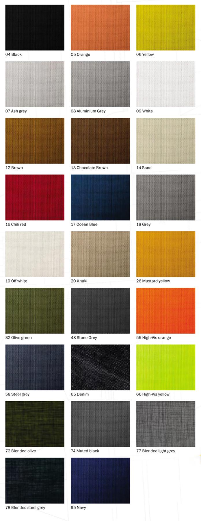 snickers workwear kleurcodes