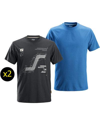 Snickers Workwear 2522 AllroundWork T-shirt met Print, 2-pak