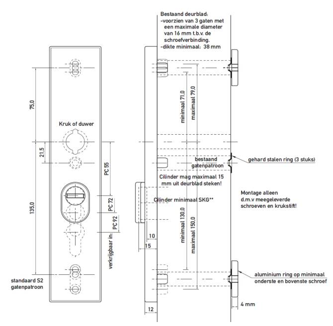 safe & secure skg*** Antiekerntrek Renovatie buitenschild verstebare schroefgaten pc 72