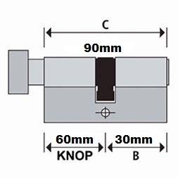 S2skg**s6 Knopcilinder 90 mm knop 60/30 3 sleutels